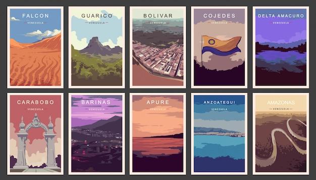 Conjunto de cartazes retrô. ilustração dos estados da venezuela.