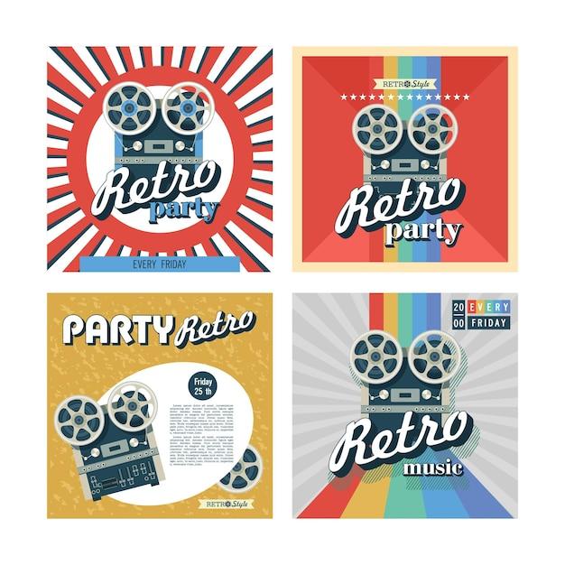 Conjunto de cartazes retrô, panfletos. festa retrô.