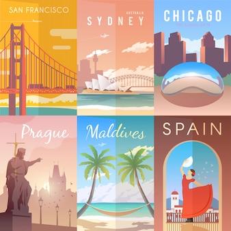 Conjunto de cartazes retrô.