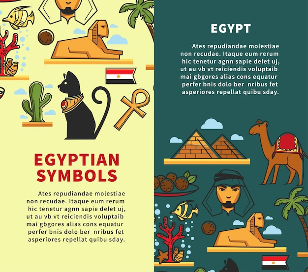 Conjunto de cartazes verticais promocionais empresa viagens símbolos do egito