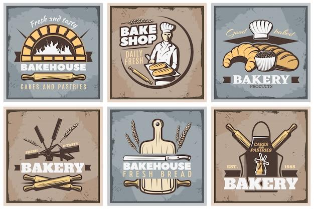 Conjunto de cartazes vintage de padaria