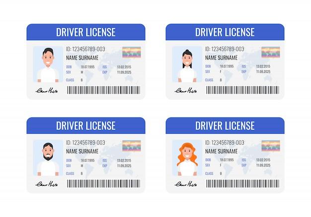 Conjunto de carteira de motorista de carro