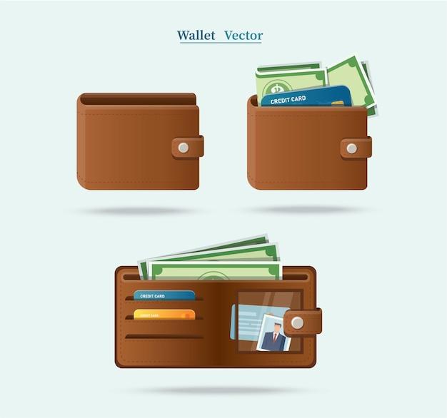 Conjunto de carteira marrom cheia de dólares verdes
