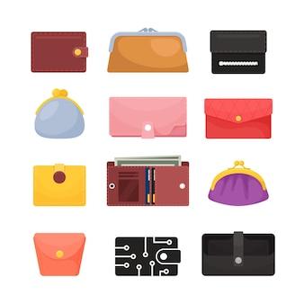 Conjunto de carteiras de ícones, diferentes bolsas masculinas e acessórios femininos para dinheiro, fechadas e abertas com contas