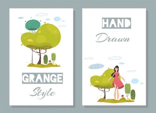 Conjunto de cartões artesanais com moda plana natural