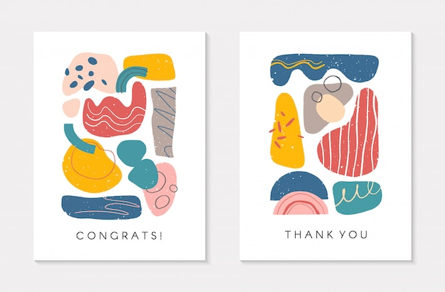Conjunto de cartões artísticos universais criativos. ilustrações modernas