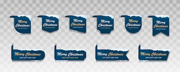 Conjunto de cartões azuis de inverno rótulo do feliz natal para o feliz natal com neve