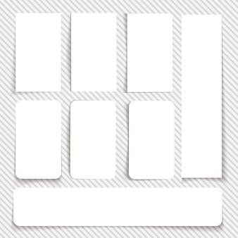 Conjunto de cartões brancos vazios de diferentes tamanhos e com diferentes tipos de bordas