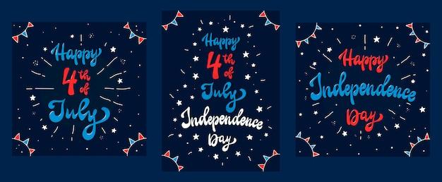 Conjunto de cartões, cartazes, impressões para 4 de julho