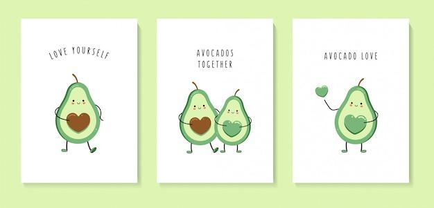 Conjunto de cartões com abacates fofos.