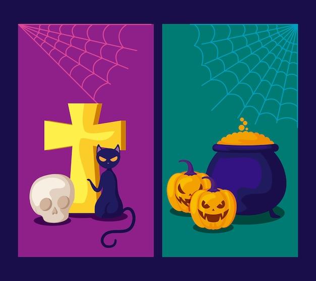 Conjunto de cartões com abóboras e ícones de halloween