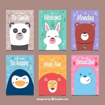Conjunto de cartões com animais felizes na festa