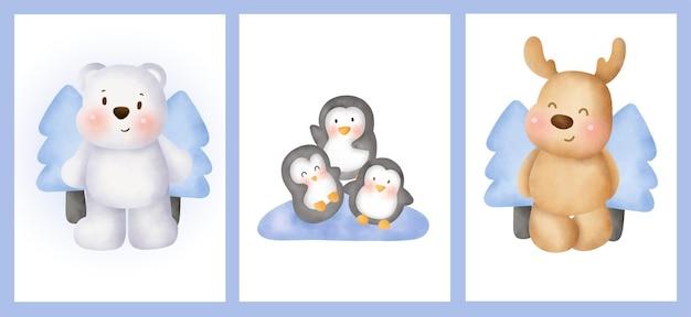 Conjunto de cartões com animais fofos do ártico em estilo aquarela.