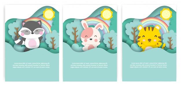 Conjunto de cartões com animais fofos no estilo de corte de papel de floresta.