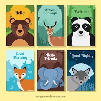 Conjunto de cartões com animais selvagens planos