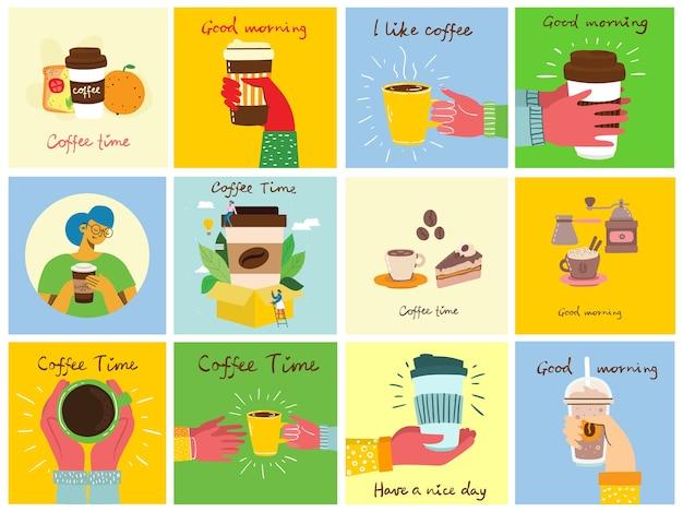 Conjunto de cartões com as mãos segure uma xícara de café escuro preto quente ou bebida, com texto escrito à mão, ilustração simples plana colorida quente.