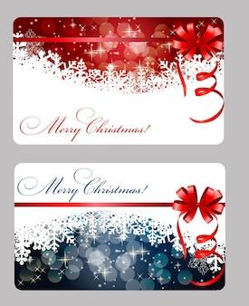 Conjunto de cartões com bolas de natal, estrelas e flocos de neve, ilustração.