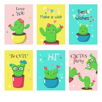 Conjunto de cartões com cactos engraçados fofos e citações