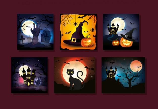 Conjunto de cartões com cenas de halloween