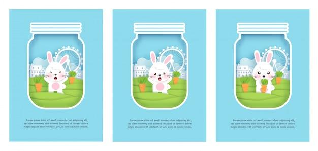 Conjunto de cartões com coelhos bonitos no estilo de corte de papel.