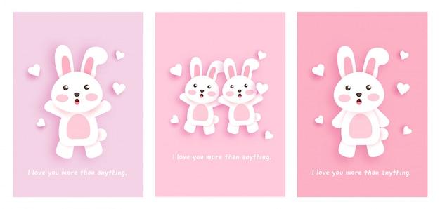 Conjunto de cartões com coelhos bonitos.