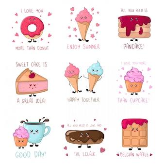 Conjunto de cartões com comida doce kawaii - bolos, sorvete, donut