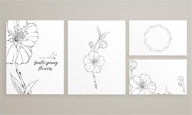 Conjunto de cartões com delicadas flores da primavera