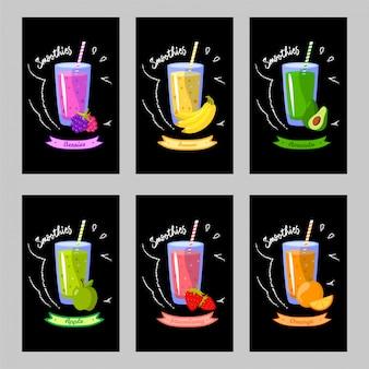Conjunto de cartões com diferentes smoothies em um fundo preto