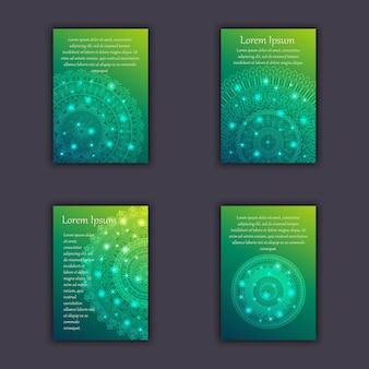 Conjunto de cartões com elementos decorativos decorativos brilhantes de mandala