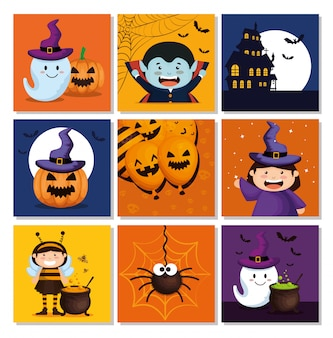 Conjunto de cartões com elementos do dia das bruxas