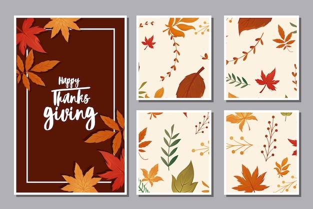 Conjunto de cartões com etiqueta feliz ação de graças e folhas de outono