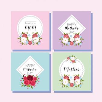 Conjunto de cartões com etiqueta feliz dia das mães