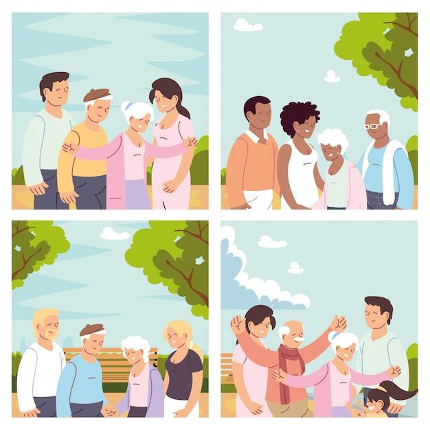 Conjunto de cartões com famílias felizes, dia dos avós