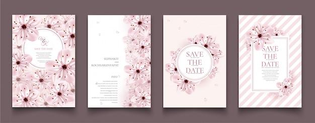 Conjunto de cartões com flor de cerejeira.