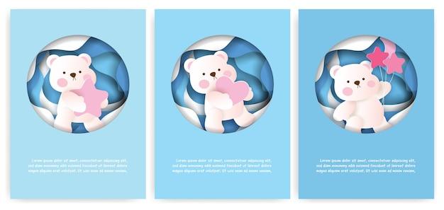 Conjunto de cartões com fofo urso de pelúcia em estilo de corte de papel.