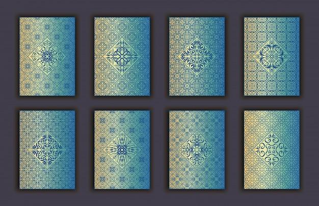Conjunto de cartões com fundo de elementos decorativos de renda mosaico