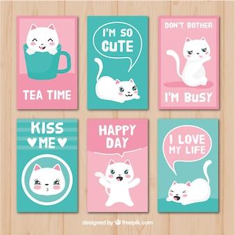 Conjunto de cartões com gatinho adorável