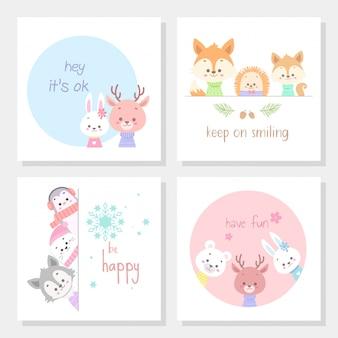 Conjunto de cartões com ilustração em vetor arte linha animal bonito