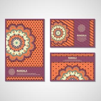 Conjunto de cartões com mandala.