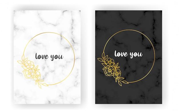 Conjunto de cartões com mármore branco e preto e linhas douradas