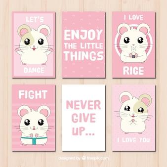 Conjunto de cartões com mensagens e hamster desenhado à mão