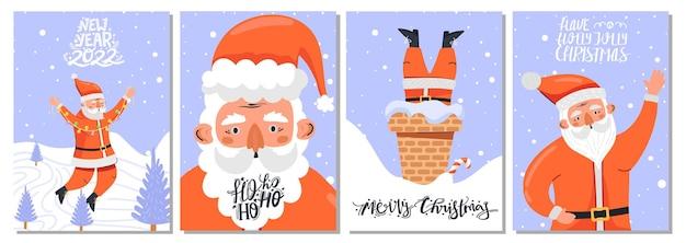 Conjunto de cartões com o personagem de papai noel em várias poses e letras
