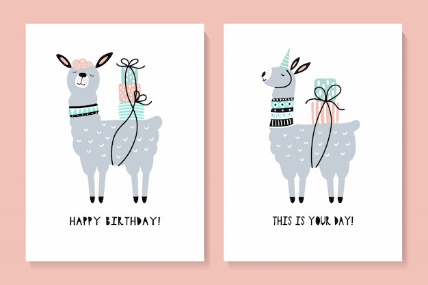 Conjunto de cartões com uma lhama bonita. feliz aniversário
