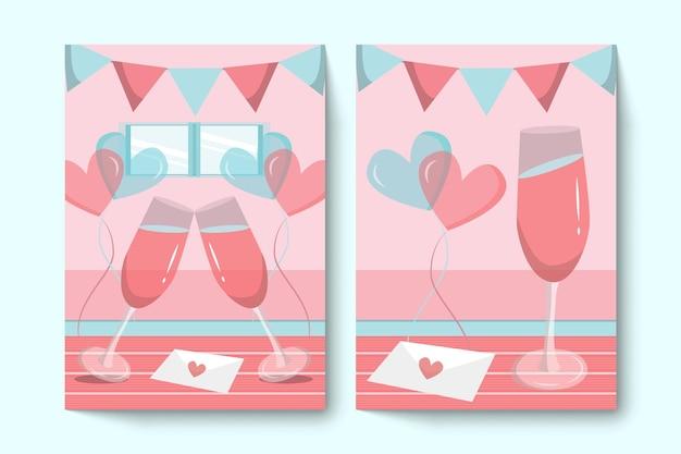 Conjunto de cartões comemorativos de dia dos namorados com óculos
