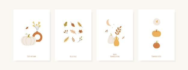 Conjunto de cartões comemorativos de outono e modelo de pôster