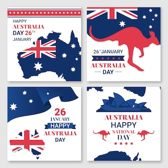 Conjunto de cartões comemorativos do dia da austrália