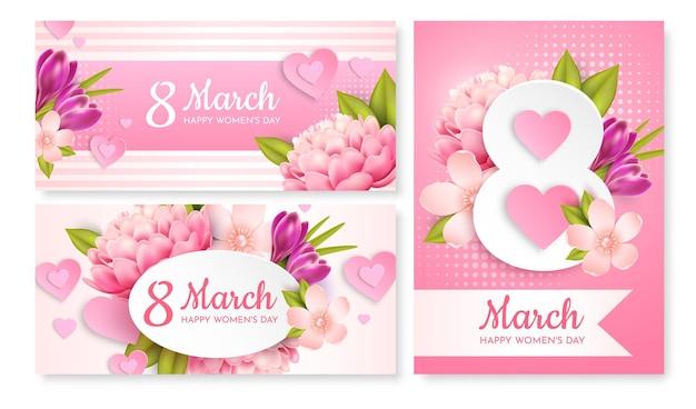 Conjunto de cartões comemorativos para 8 de março (dia internacional da mulher).