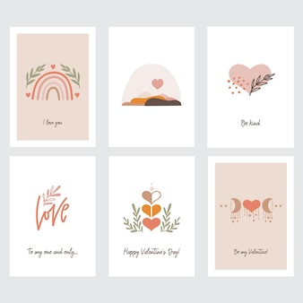Conjunto de cartões comemorativos para o dia dos namorados