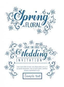 Conjunto de cartões, convite de casamento e cartão floral primavera com decoração de flores e folhas