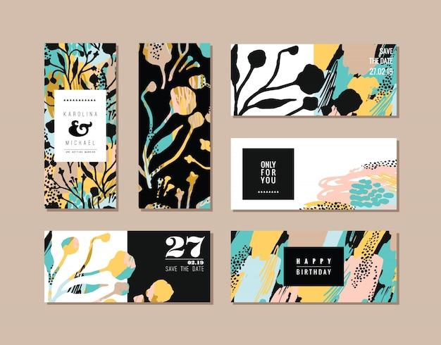 Conjunto de cartões criativos abstratos. textura de arte desenhada mão e elementos florais.